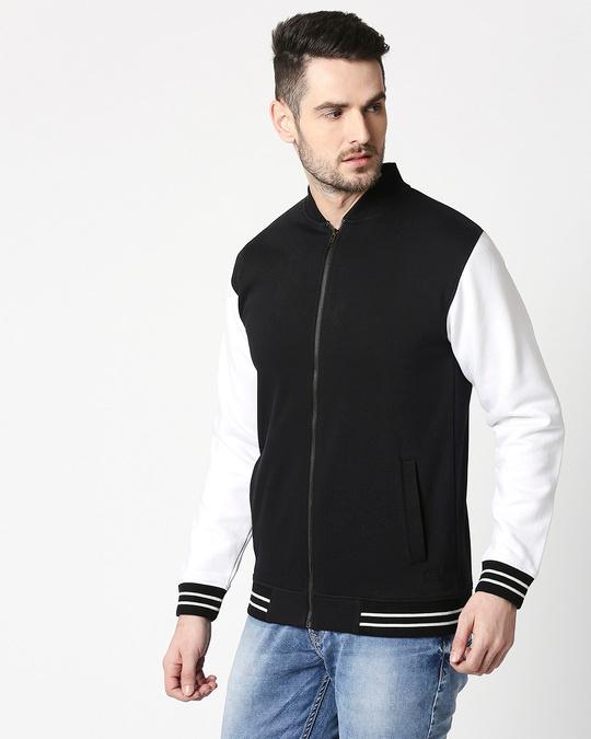 Shop Black Varsity Bomber Jacket-Design