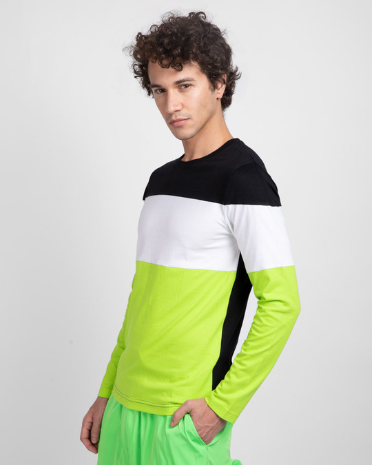 Shop Black-White & Neon Green 90's Vibe Panel T-Shirt-Back