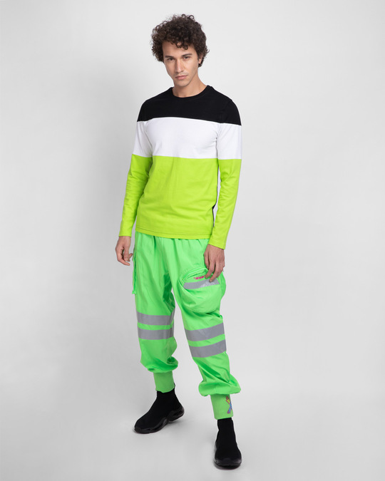 Shop Black-White & Neon Green 90's Vibe Panel T-Shirt