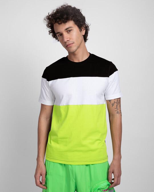 Shop Black White & Neon Green 90's Vibe Panel T-Shirt-Front