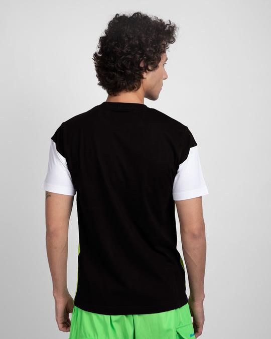 Shop Black White & Neon Green 90's Vibe Panel T-Shirt-Full