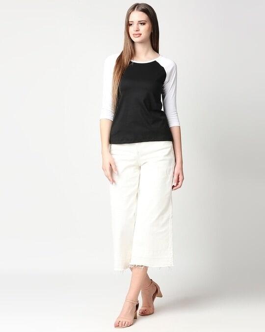 Shop Black-White 3/4th Sleeve Raglan T-Shirt