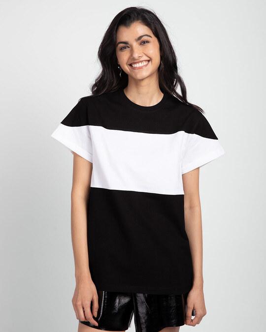 Shop Black-White-Black 90's Vibe Boyfriend Panel T-Shirt-Front