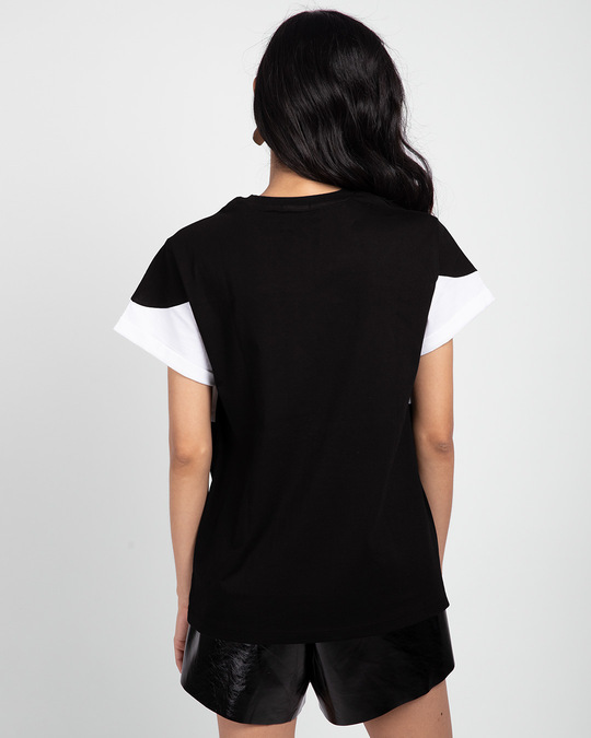 Shop Black-White-Black 90's Vibe Boyfriend Panel T-Shirt-Full