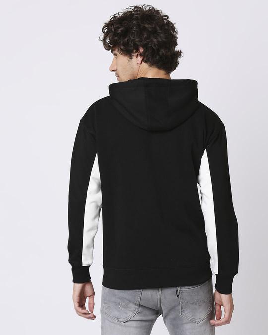 Shop Black Chest Panel Zipper Hoodie-Design