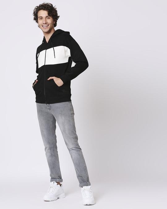 Shop Black Chest Panel Zipper Hoodie-Full