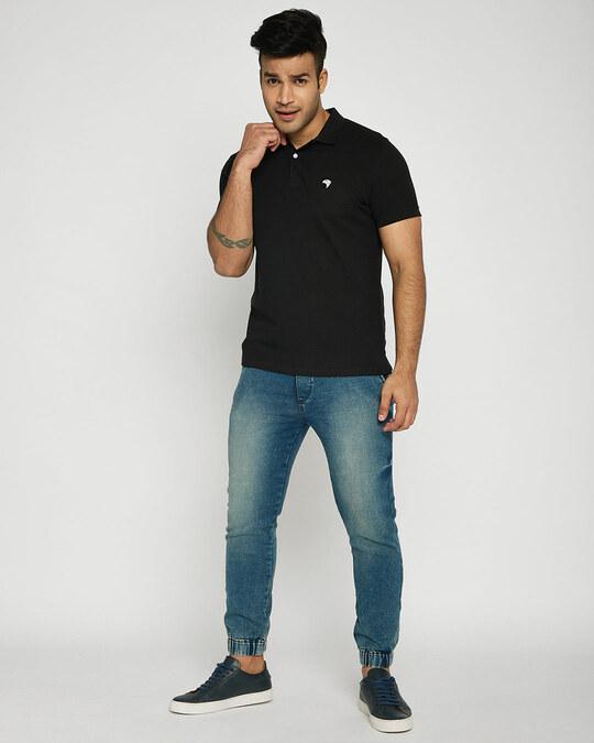 Shop Black-White Contrast Collar Pique Polo T-Shirt-Full
