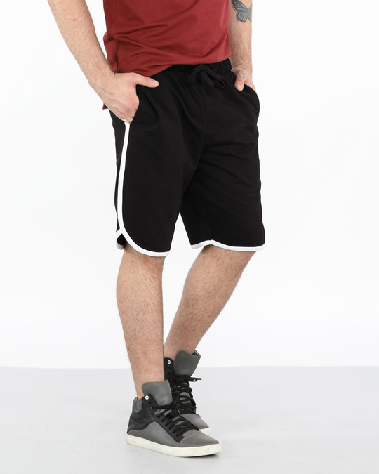 Shop Jet Black-White Runner Fleece Shorts-Front