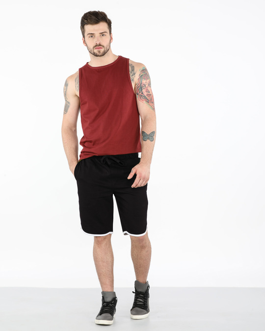 Shop Jet Black-White Runner Fleece Shorts