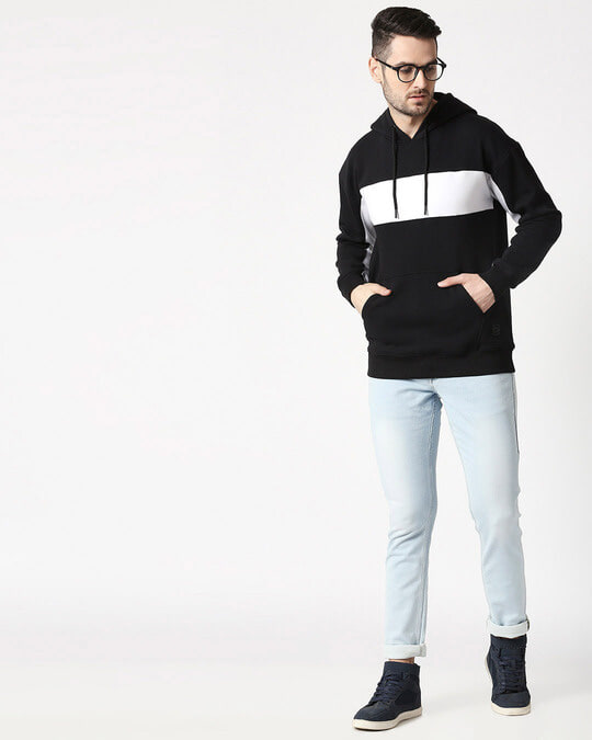 Shop Black Chest Panel Hoodie Sweatshirt