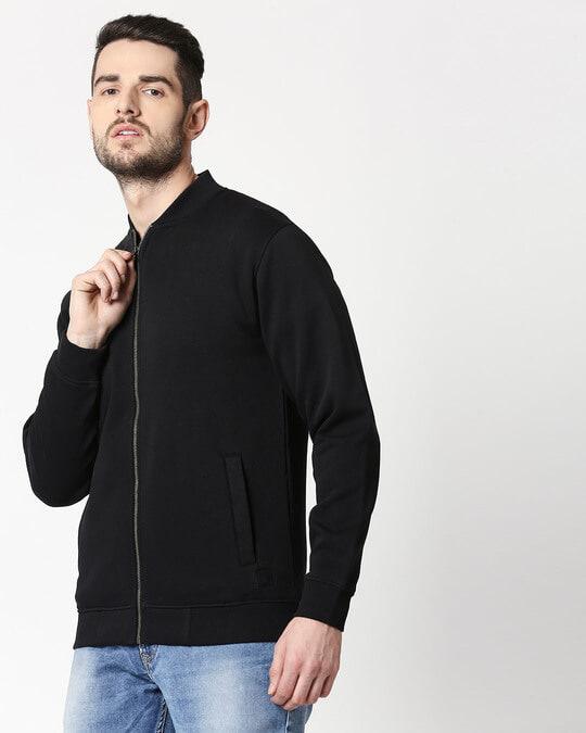 Shop Black Zipper Bomber Jacket-Front