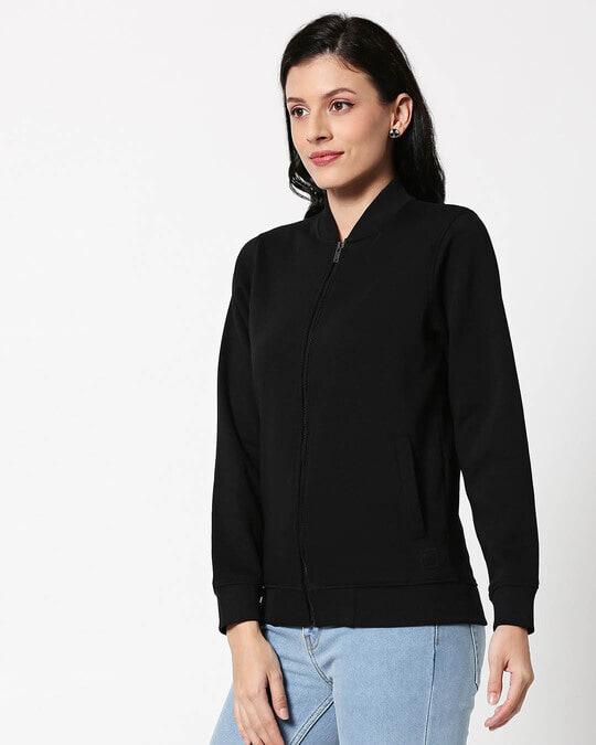 Shop Black Zipper Bomber Jacket-Design