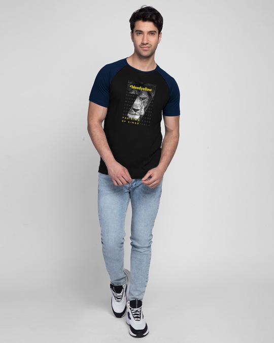 Shop Bleed Yellow Half Sleeve Raglan T-Shirt Navy Blue-Black-Design