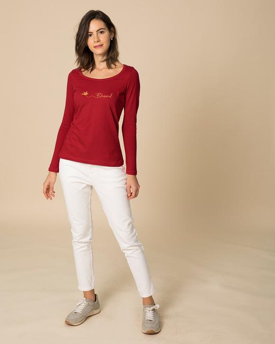 Shop Blessed Bird Scoop Neck Full Sleeve T-Shirt-Full