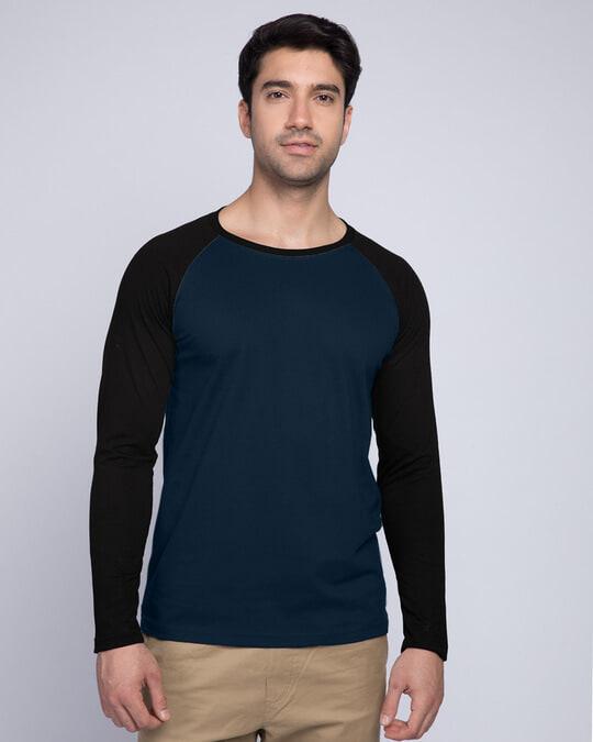 Shop Blue & Black Full Sleeve Raglan T-Shirt-Front