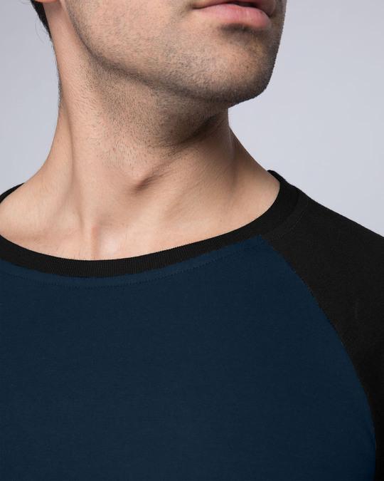 Shop Blue & Black Full Sleeve Raglan T-Shirt