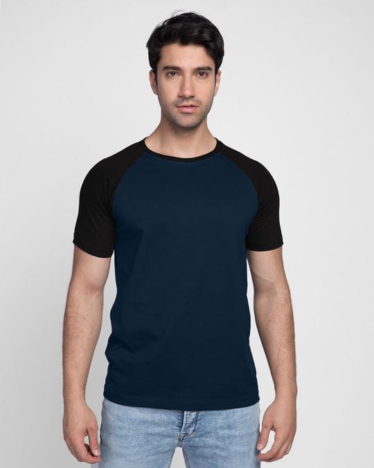 Shop Blue & Black Half Sleeve Raglan T-Shirt-Front