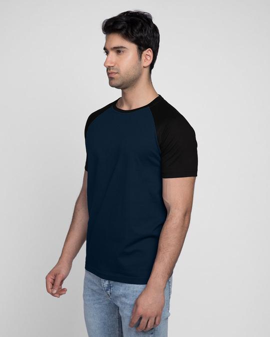 Shop Blue & Black Half Sleeve Raglan T-Shirt-Back
