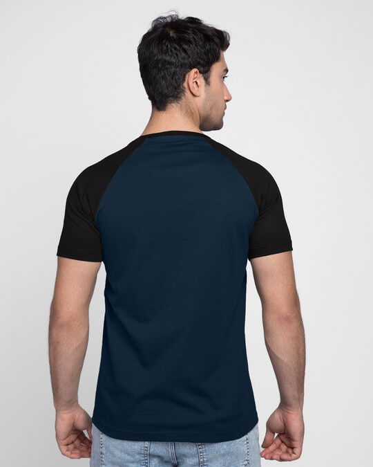 Shop Blue & Black Half Sleeve Raglan T-Shirt-Design