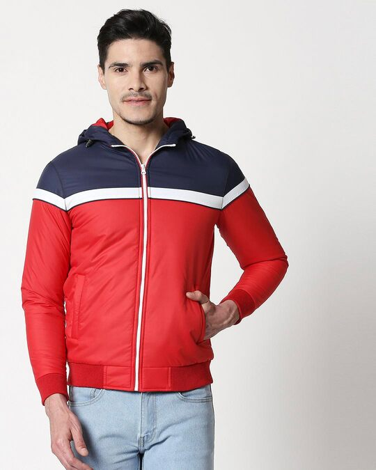 Shop Blue & Red Two Block Strip Color Block Puffer Jacket-Back