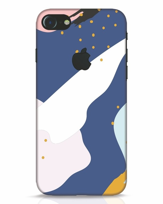 Shop Blue Abstract iPhone 7 Logo Cut Mobile Cover-Front