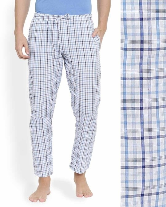 Shop Joven | Blue and White Checked Pyjamas-Back