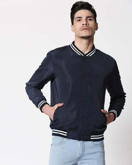 Shop Navy Blue Anti Varsity Bomber Jacket-Front