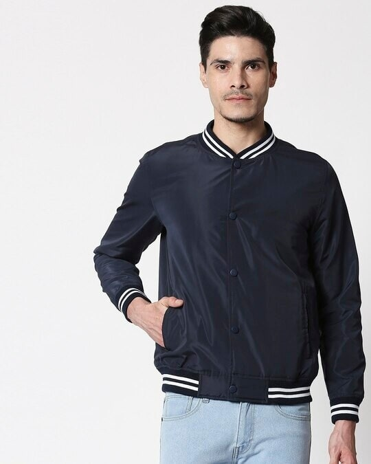 Shop Navy Blue Anti Varsity Bomber Jacket-Back