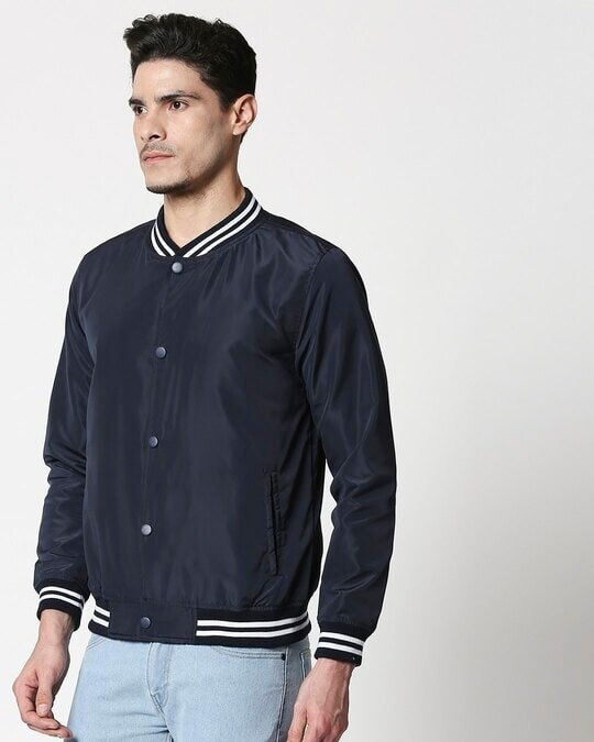 Shop Navy Blue Anti Varsity Bomber Jacket-Design