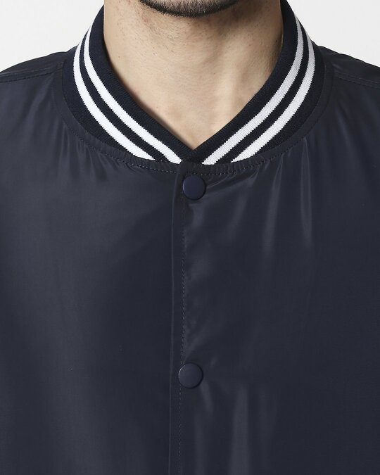 Shop Navy Blue Anti Varsity Bomber Jacket