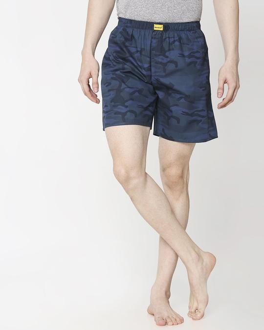 Shop Blue Camo Side Pocket Men's Boxers-Back