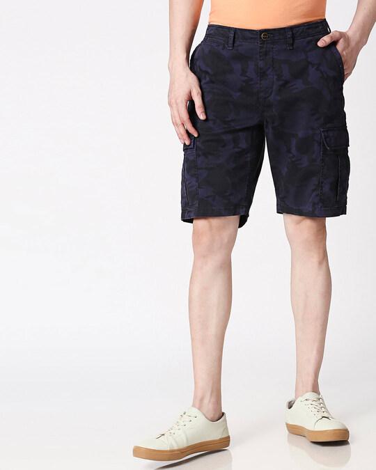 Shop Blue Camo Men's Shorts-Back