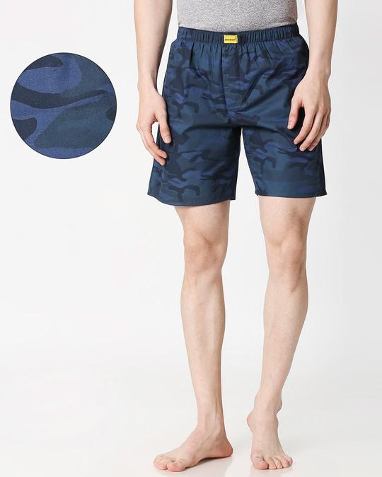 Shop Blue Camo Side Pocket Men's Boxers-Front