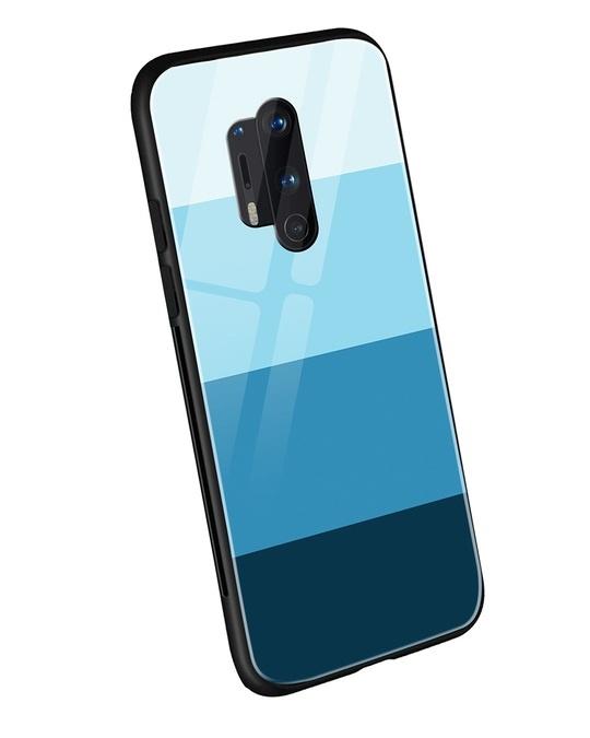 Shop Blue Color Block OnePlus 8 Pro Mobile Cover-Back