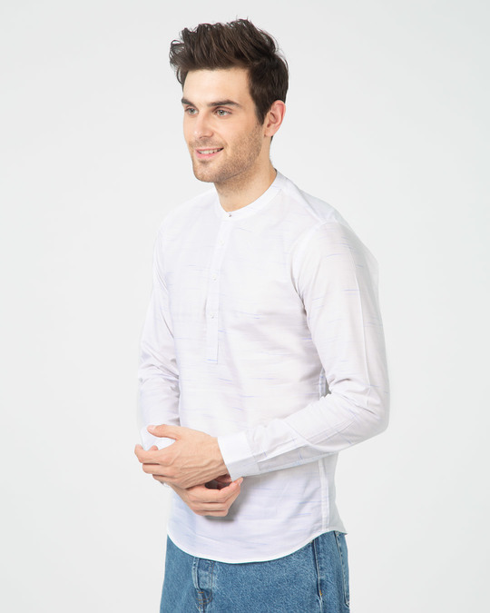 Shop Blue Fox Neps Henley Full Sleeve Shirt-Back