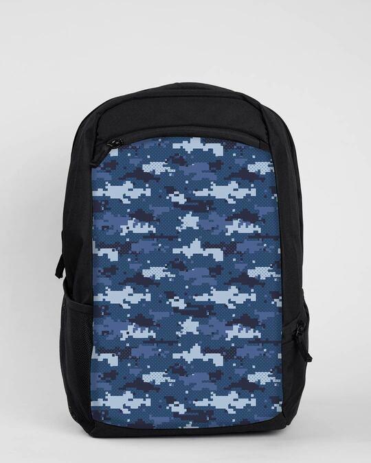 Shop Blue Geomtric Camo Laptop Bag Black-Front