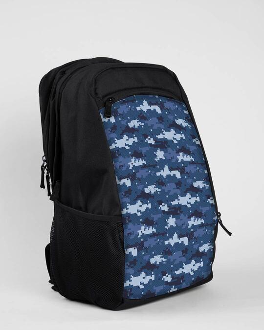 Shop Blue Geomtric Camo Laptop Bag Black-Back