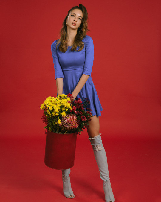 Shop Blue Haze Flared Dress-Front