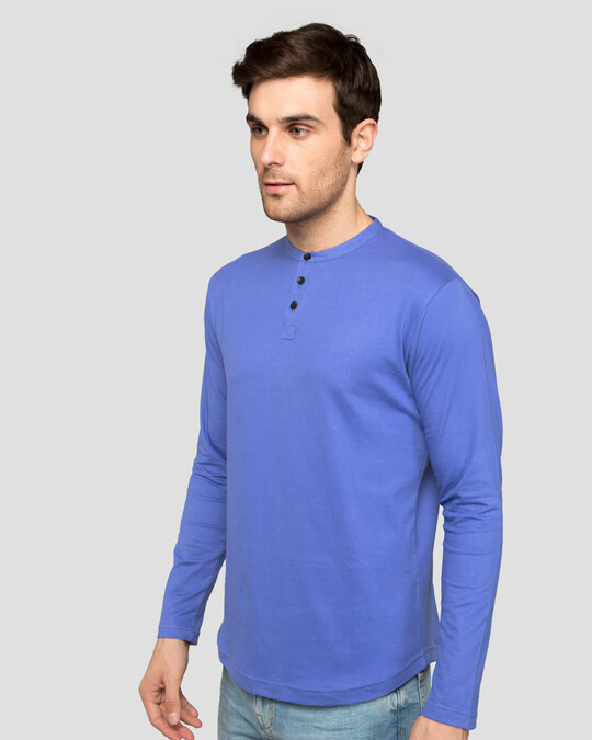 Shop Blue Haze Full Sleeve Henley T-Shirt-Back