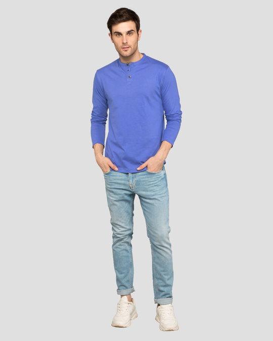 Shop Blue Haze Full Sleeve Henley T-Shirt-Full