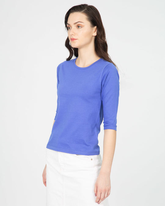 Shop Blue Haze Round Neck 3/4th Sleeve T-Shirt-Full
