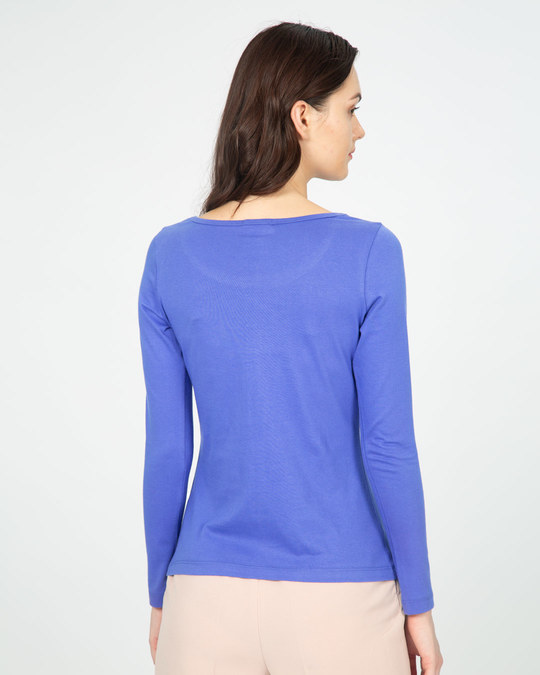 Shop Blue Haze Scoop Neck Full Sleeve T-Shirt-Full