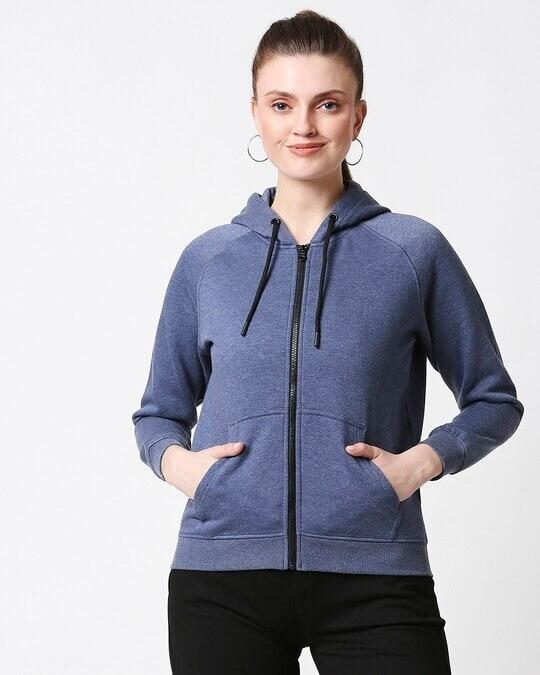 Shop Blue Melange Zipper Hoodie-Back