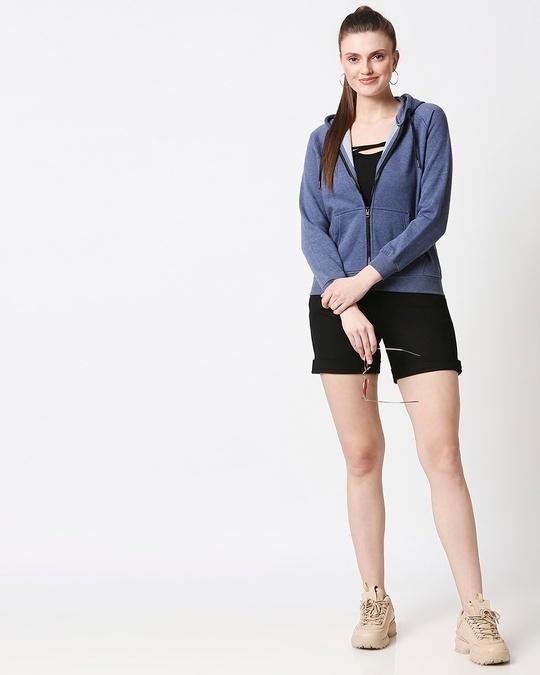 Shop Blue Melange Zipper Hoodie
