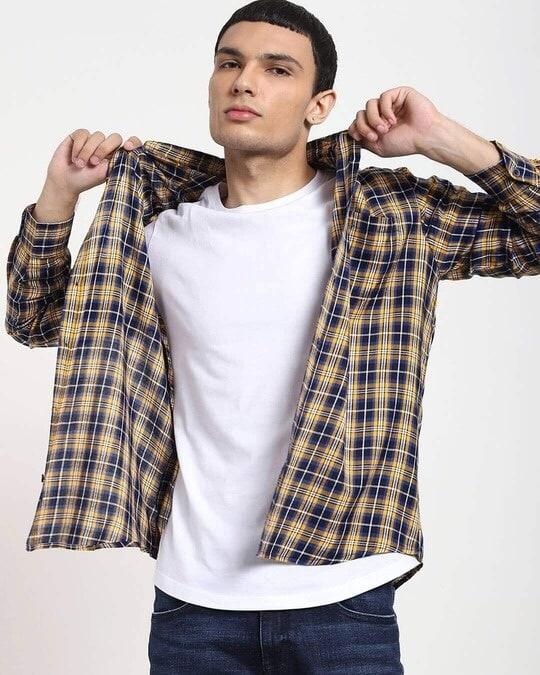 Shop Beige Checks Casual Full Sleeve Shirt-Back