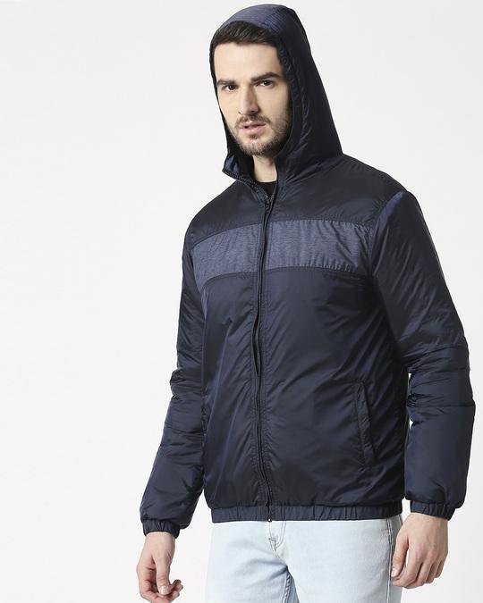 Shop Blue Metallic Puffer Jacket-Design