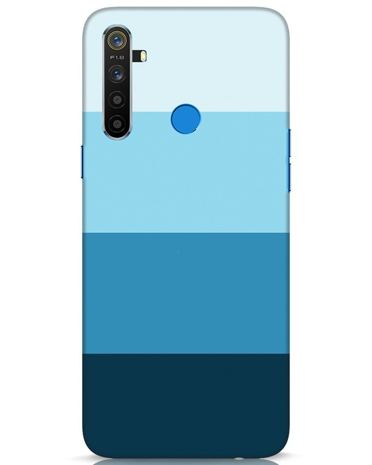 Shop Blue Ombre Stripes Realme 5 Mobile Cover-Front
