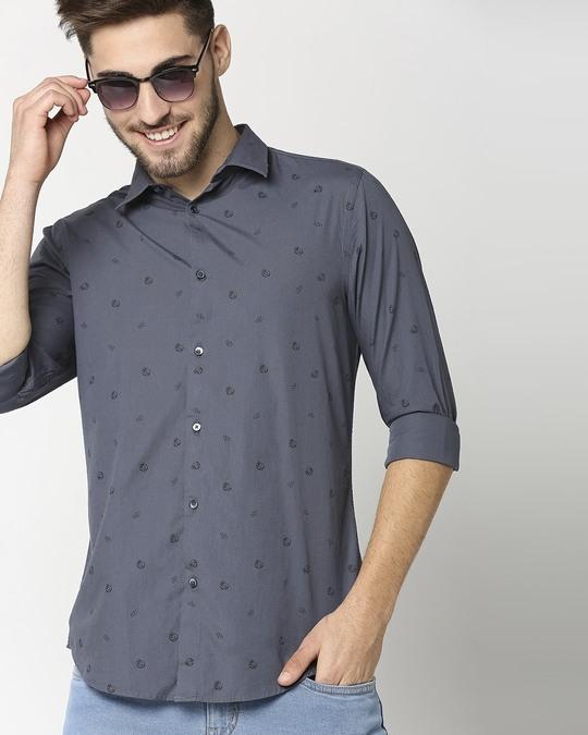 Shop Blue Poplin Print Shirt-Back