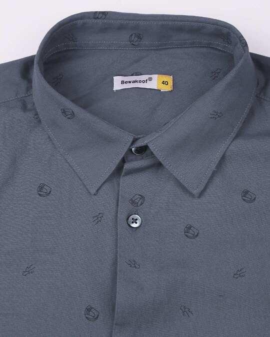 Shop Blue Poplin Print Shirt