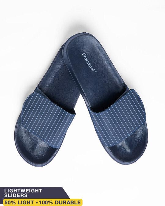 Shop Blue Stripes Lightweight Adjustable Strap Women Slider-Front